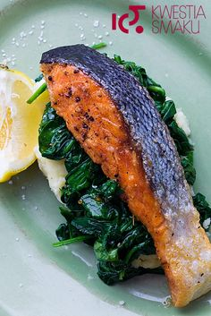Grilled salmon with spinach and potato mash