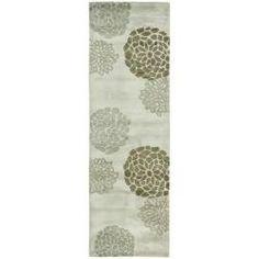 overstock - $98 - Handmade Soho Botanical Light Grey N. Z. Wool Runner (2'6 x 8')