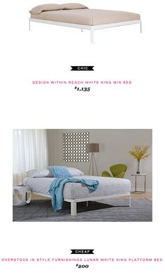 Design within Reach White King Min Bed $1,135  -vs-  Overstock In Style Furnishings Lunar White King Platform Bed $200