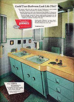 vaniti, color, retro interior, american vintage, bathroom designs, vintage homes, vintage bathrooms, vintage ads, mid century design