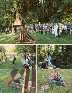 Summer Camp Wedding Ideas: Bouquet Catapult in the Woods
