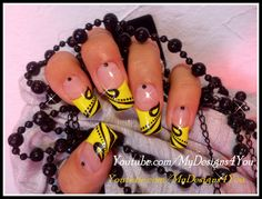 QUICK FALL MANICURE TUTORIAL. YELLOW AND BLACK NAILS. #nails #nailart #blackandyellow #frenchtipnails #mydesigns4you #longnails