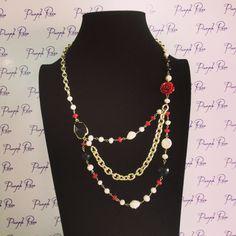 Collar perla de rio, onix y coral rojo
