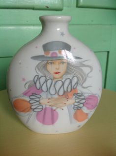 Clown girl vase Pastel 1980's Pierrot by VioletnDaisyVintage, $8.00
