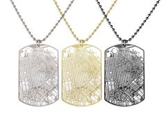 Using GPS info from OpenStreetMap, Aminimal Studio created a series of necklaces depicting city maps.