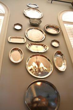 Silver platter gallery wall decorating idea @reFreshreStyle Debbie Westbrooks