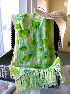 Hand Dyed Silk Cut Velvet  Scarf with Fringe   by bluepiedesigns, $35.00