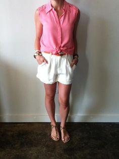 linen short, short shoe, belt linen