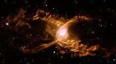 The Red Spider Nebula: Huge waves are sculpted in this two-lobed nebula some 3000 light-years away in the constellation of Sagittarius. This warm planetary nebula harbours one of the hottest stars known and its powerful stellar winds generate waves 100 billion kilometres high. The waves are caused by supersonic shocks, formed when the local gas is compressed and heated in front of the rapidly expanding lobes.