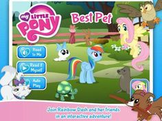 My Little Pony: Best Pet - an interactive book, about 20 pages/scenes long, 3 reading modes (narrated and 'read by myself' plus Autoplay). Extra features: highlighted 'difficult' words are explained through animations and a simple sight words practice session. Appysmarts score: 87/100