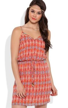Deb Shops A-Line Dress with Diamond Tribal Print and Drawstring Waist $24.40