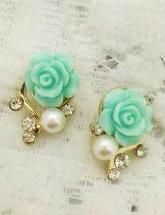 Mint green rose earrings