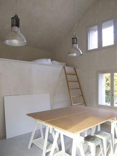 sunken loft bed- good for a studio!