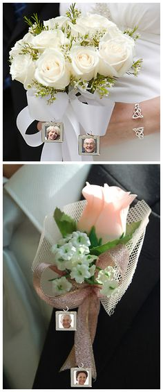 For an extra special touch, add photos of the parents of the bride and groom to the bride's bouquet and groom's boutonnière. You can print the photos at Kodak Picture Kiosk. #wedding #photography #ideas #diy #craft