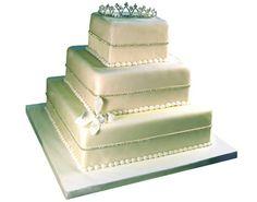 Three-Tier White Tiara Cake
