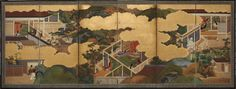 Six scenes from 'The Tale of Genji' (1): Tosa School (1700-1750)