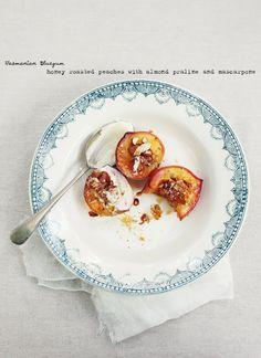 Honey Baked Peaches with Almond Praline and Mascarpone Cream
