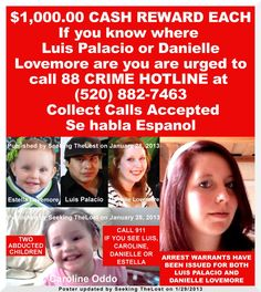 1/29/2013: $1,000.00 REWARD each for information leading to the arrest of two adults connected to... pinned with Pinvolve