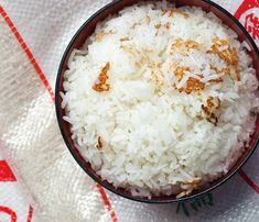 """Coconut Rice recipe = {jasmine rice + coconut cream + sugar + salt} - """"The coconut cream will caramelize during cooking, leaving sweet brown flecks in the rice."""""""