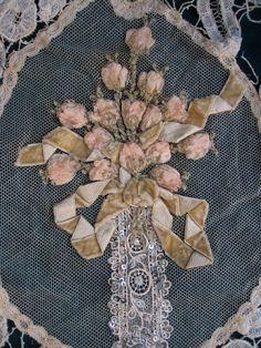 Etsy listing at https://www.etsy.com/listing/178277024/french-lace-ribbonwork-velvet-flowers