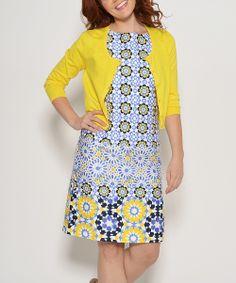 Yellow & Blue Geometric Print Dress