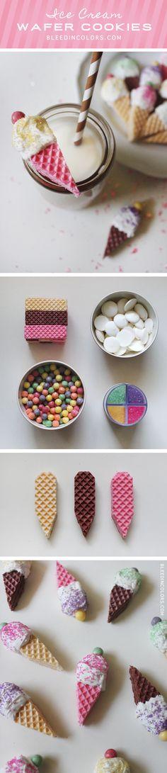 DIY ice cream cone wafer cookies // Bleedincolors.com #saraharvey #bleedincolors #cookies #diy #icecream
