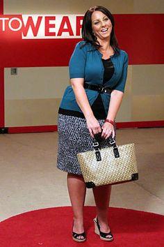 Season 9: Jackie's Makeover: Season 9 - On TV Now!: TLC  Teal sweater, grey skirt, espadrilles