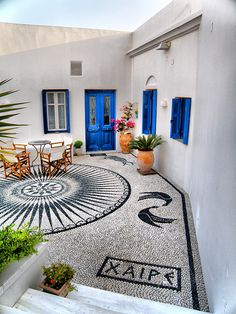 mosaic welcoming guests, Milos, Greece