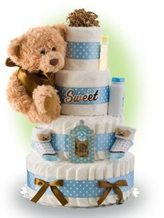 Our So Sweet Boy 4 tier diaper cake is a sweet and elegant gift to celebrate the birth of a new baby boy. Only $89.00