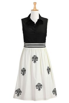Oh so lovely! Embellished black and cream poplin dress