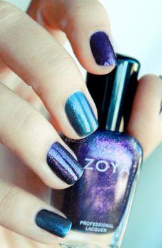 Nail Polish • Zoya • Design: Purple and Blue Cosmos