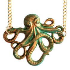 Patina Octopus Necklace now featured on Fab.