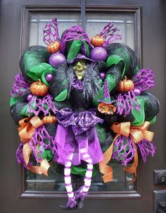 Deco Mesh Wreath Witch Wreath Halloween Wreath Fall by LuxeWreaths, $159.00