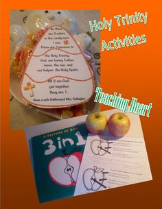 Holy Trinity activities from Teaching Heart. Includes a free candy corn tag and a free apple trinity worksheet. religion, candi corn, heart, free candi, candy corn, candies, holi triniti, lesson idea, blog