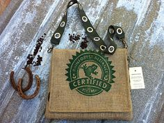 Rain Forest Frog Messenger Bag made from coffee sacks.