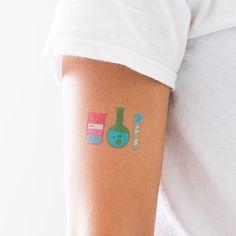 Science themed temporary tattoos! Very cute.