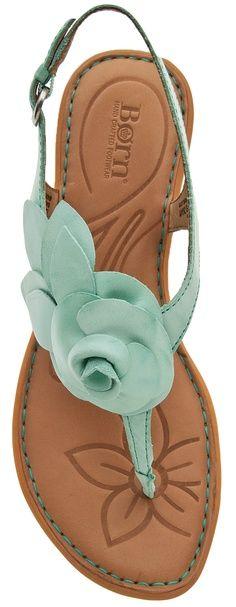 born sandals, mint green, summer sandals, colors, summer shoes, flat sandals, turquois sandal, aqua, flower