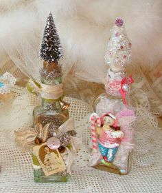Altered Art Christmas Bottles Set of Two by treasured2 on Etsy