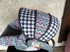 Argyle Steel with Chevron Infant Car Seat Cover by sewcuteinaz, $65.00