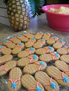FlipChick Designs: Luau Party Feature - pina colada cupcakes, cute iced cookies, the drinks are good ideas