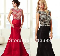 Formal Black New Arrival Sparkle Red with Short Sleeves Beads Mermaid Formal Women Evening Dress 2014 Crystals  (Definitely in Black). Bought this for my sons black and silver wedding.