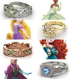 Rings inspired by the Disney Princesses - Part III Tiana, Rapunzel, Merida, Anna