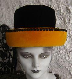 Sale Sale Fab Vintage 1960s Black N Gold Velvet Hat by HartsCloset, $69.99
