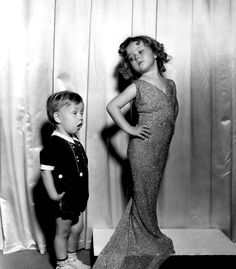 A young Shirley Temple with child star Baby LeRoy, early 1930s