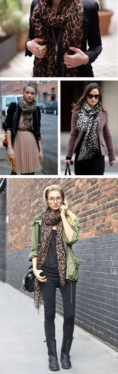 Outfit ideas for leopard printed scarf.