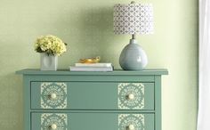 So fun! New Vintage Decor Paint with a Matte Chalk Finish, Wax and Stencils in @Michaels Stores and great for #diy furniture, #crafts and home decor projects #plaidcrafts #marthastewart #marthastewartcrafts
