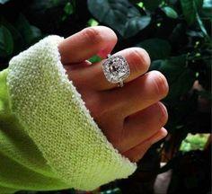 Cushion cut engagement ring.