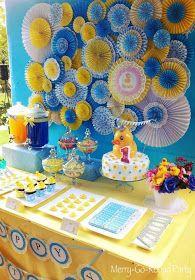 dessert tables, paper rosett, rubber ducky party, baby shower ideas, wall decorations, babi shower, themed parties, baby showers, rubber ducks