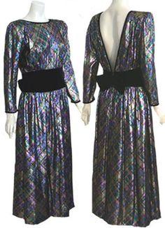Victoria Royal Vintage 1980s Metallic Dress Glam Cocktail Low Back | eBay