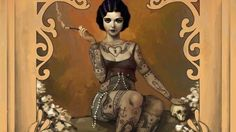The_Amazing_Tattooed_Lady_2d_illustration_skull_tattoos_circus_vintage_1920s_smoking_lady_20th_century_girl_woma